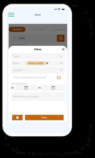 recherche produit sur application mobile